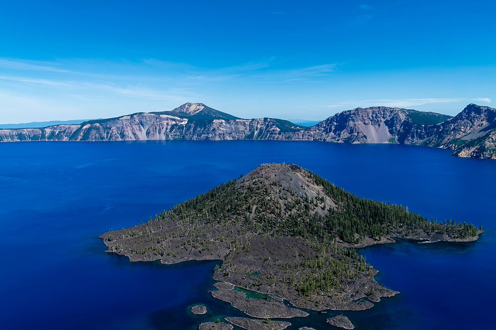 crater lake in oregon under exposed